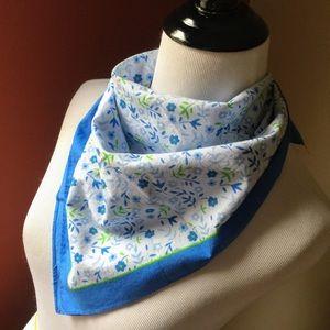 Color Fast Accessories - Retro Color Fast blue floral bandanna square scarf